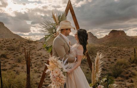 Bride and Groom boho arch